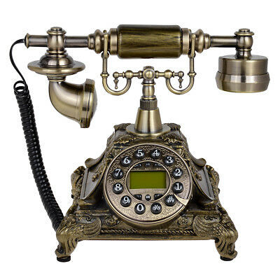 Kmise 117A Bronze Retro Vintage Antique Style Rotary Desk Phone Home Living Room