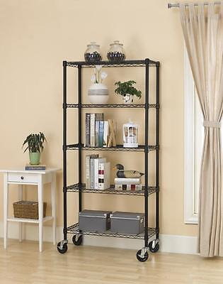 5 Tier Black Wire Storage Adjustable Steel Shelving Steel Metal Rack Organizer
