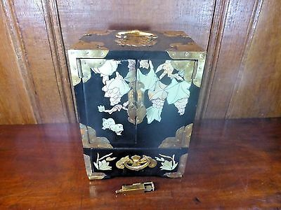 Vintage CHINESE BLACK LACQUER & MOTHER of PEARL jewellery CABINET & KEY 4 drawe