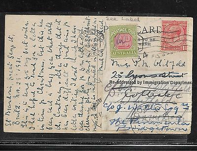 Australia (P2201B) 1931  Incoming Postage Due Psc From England