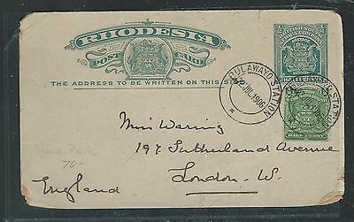 Rhodesia (1012B) 1906 1/2D Arms Psc Uprated 1/2D Bulawayo Station To England