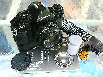 Canon A-1 Camera W/ 50Mm F1.8 Lens & Winder *lubed Shutter & New Seals *mint-