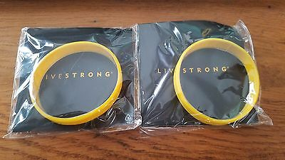 "2 Livestrong Silicone Cancer Bracelet Adult XS/M 7"" Yellow Wristbands AUTHENTIC"