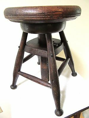 Rare Antique French Oak Painters Stool Adjustable Wood Artist Drafting Primitive