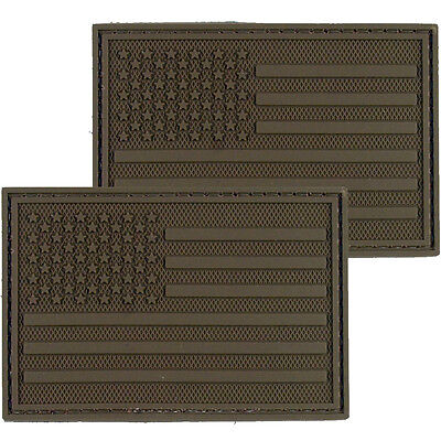 2x American Flag Dark PVC Morale Patch 3D Tactical Badge Hook #38