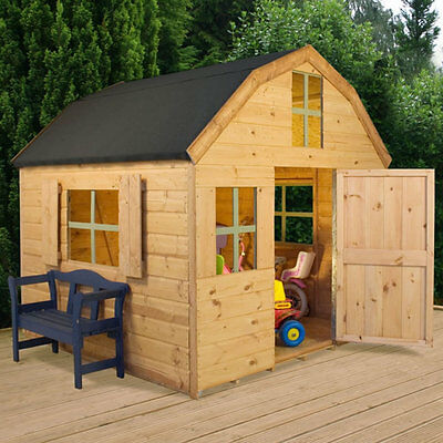 Mercia Dutch Wood Playhouse 6ft x 6ft Wooden Kids Wendy Houses Play House NEW
