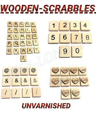 Wooden Scrabble Letters Tiles & Numbers Symbols Heart Complete Set Tiles P&p