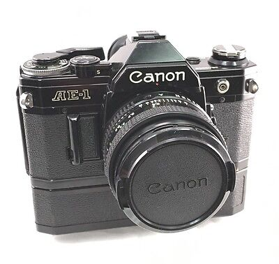 Canon AE-1 Camera with FD 50mm F/1.8 Lens and Power Winder