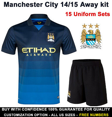 Manchester City Soccer Uniform 15 Sets 14/15 Away Kits US Sizes Free Numbers