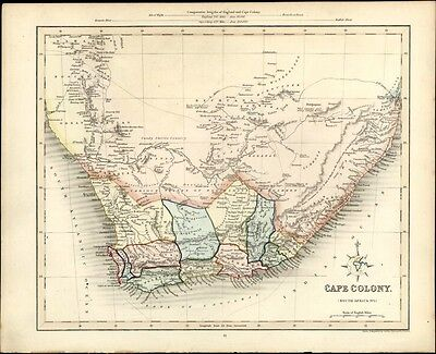 Cape Colony South Africa Bushmen Tribes old 1848 antique Gilbert Archer map