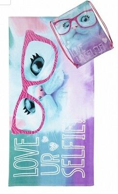 Girls Justice Kitty Cat Selfie Beach Towel With Tote  Bag New NWT