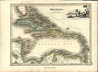 West Indies Caribbean Cuba Jamaica Florida 1819 antique Wyld Hewitt Thomson map