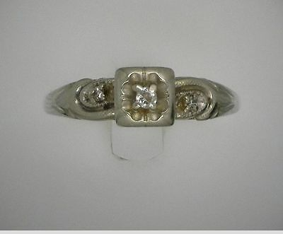 14K Solid White Gold Round Cut Diamond Antique Wedding/ Engagement Band Ring