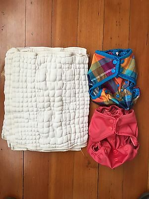 Rumparooz One Size Diaper Covers - Lot of 2 with 4 pre-folds, Spice and Preppy