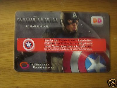 Dunkin Donuts Gift Card CAPTAIN AMERICA MOVIE MARVEL DC DD