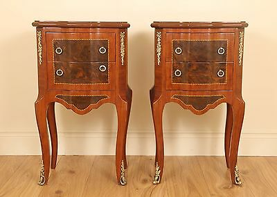 Pair of Walnut Inlaid with Ormolu Mounted 2 Drawer Bed Side / Occasional Tables