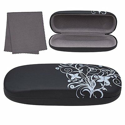 Hard Eyeglass Case Floral Designed Clamshell Glasses Sunglasses Microfiber Cloth