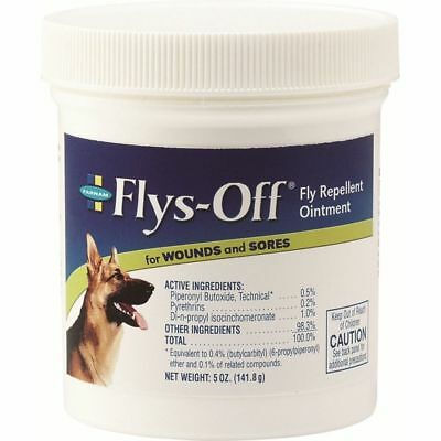 Farnam Flys-Off fly Ointment Repels & Kills flies on Contact Dogs & Horses 5oz
