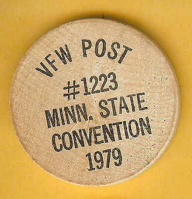 Vintage Wooden Nickel Vfw Post #1223 Minnesota State Convention 1979
