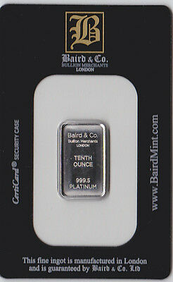 1/10 oz Platinum Bar - Baird & Co. (.9995, In Assay)