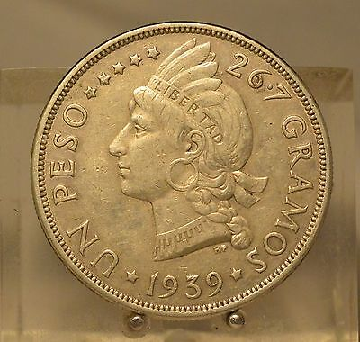 1939 Dominican Republic Silver 1 Peso, Old Silver Dollar Size Coin