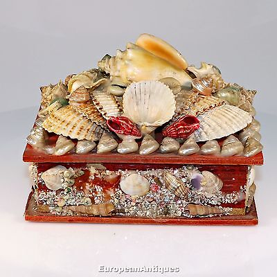 French Sea Shell Art Shellwork Jewelry Trinket Souvenir Box Mirror Provence