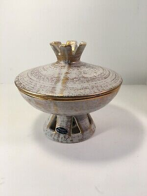 Royal Haeger Gold Plated Tweed 22 k Gold Candy Dish 707 S USA Spaceship Atomic
