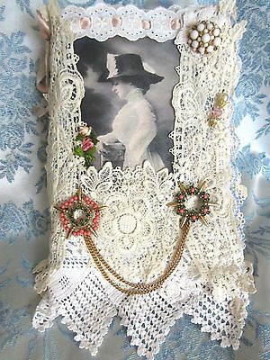 Fabric Antique Lace VTG Rhinestone Brooch Hat/Stick Pin Holder Book Mixed Media