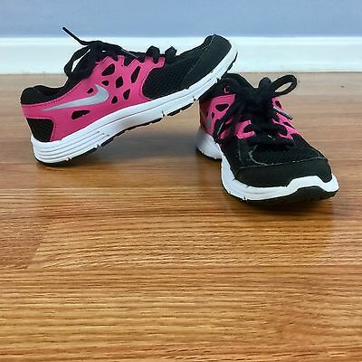 NIKE Girls Shoes Size 1 VGUC Black Pink Athletic Sneakers Youth