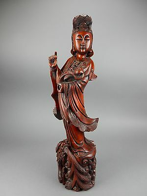 """Gorgeous Antique intricately carved Rosewood Kwan Yin and Dragon statue 26"""""""