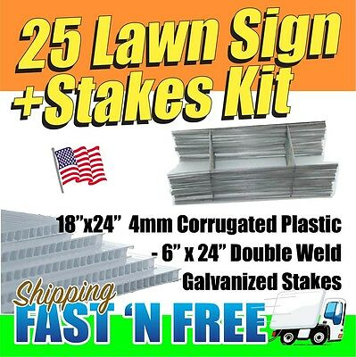 "25 Pack Blank Signs & Wire Stakes 24"" for Yard Signs, Garage Sale FREE SHIPPING"