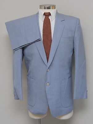 Vintage Mens 40R Custom 2 Piece Light Blue Stripe Wool Suit