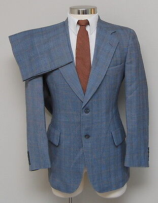 Vintage Mens 38R Lord Churchill 2 Piece Blue and Brown Glen Check Wool Suit