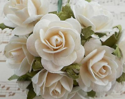 """100! Large Handmade Mulberry Paper Roses - 20MM/0.75"""" - Soft Creamy White Rose!"""