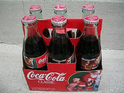 6 PACK 1995 SANTA CHRISTMAS 8OZ FULL COKE COCA COLA GLASS BOTTLE with CARRIER