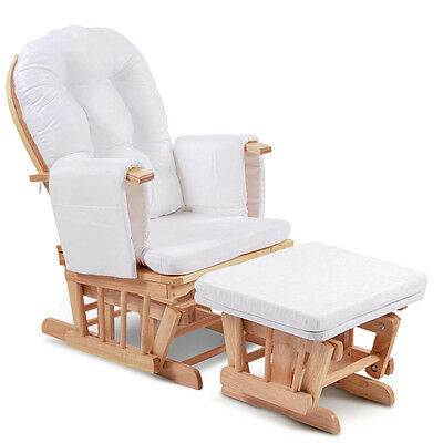 Baby Breast Feeding Rocking Gliding Sliding Chair with Ottoman - Natural Wood