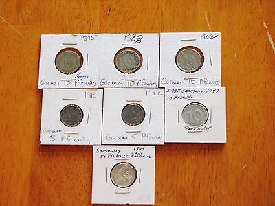 Germany - Lot of 7 Pfennig Circulated Coins - 1875-1990