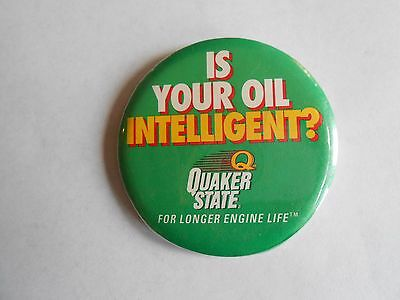 Vintage Quaker State Is Your Oil Intelligent? Advertising Pinback Button
