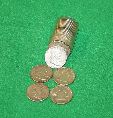 Roll of 20 Coins Franklin 90% Silver Half Dollars $10 Face FREE SHIPPING