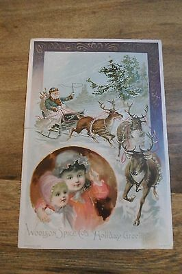 "Original 1890's Victorian ""Blue Santa"" Lion Coffee Christmas trade card"
