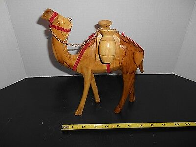 "VINTAGE HAND CARVED LARGE WOOD CAMEL 11"" Tall"