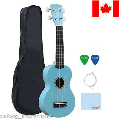 21 Inch Soprano Ukulele Beginners Hawaii Guitar Wood Music Instrument Light Blue