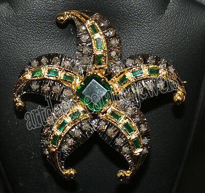 1.40ct ROSE CUT DIAMOND EMERALD .925 STERLING SILVER BROOCH PIN