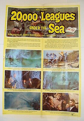Rare 1954 Orig Disney 20,000 Leagues Under The Sea Style B Movie Theater Poster