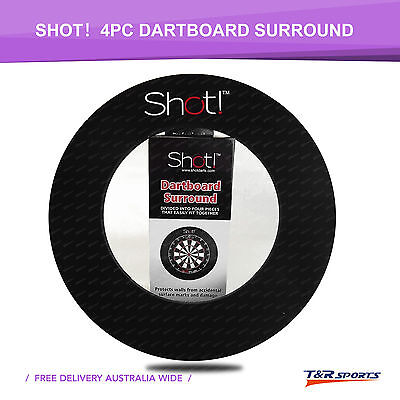 Shot 4pc Black Dartboard Surround Wall Protector Fits Full Size Dartboard