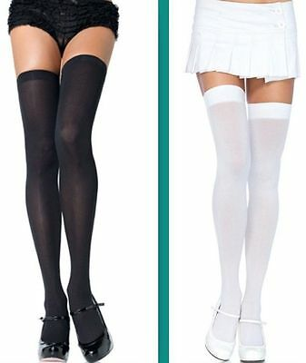 White or Black Opaque Thigh High Stockings Ladies School Girl