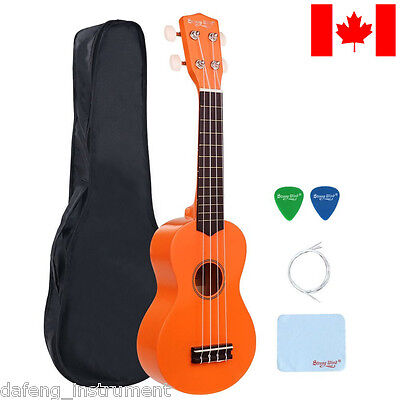 21 Inch Soprano Ukulele Beginners Hawaii Guitar Wood Music Instrument Orange