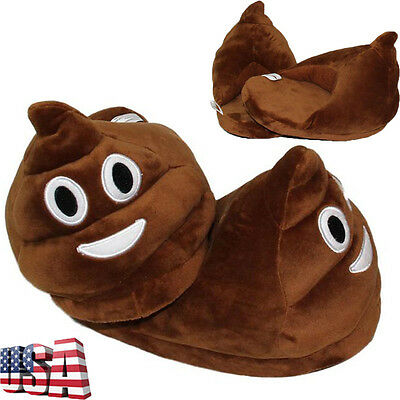 Men Women Adult Plush Winter Warm Cute Soft Poo Slippers Home Indoor Wool Shoes