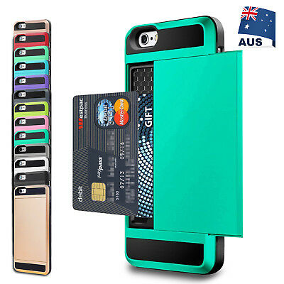 For iPhone 11 Pro XS Max XR X 8 7 Slide Armor Shockproof Tough Wallet Case Cover