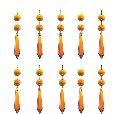 10 Amber Crystal Hanging Icicle Pendants with Beads Chandelier Lamp Prisms Parts